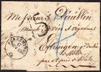 1868 PRE-STAMP INTERESTING ENTIRE PORRENTRUY, SWITZERLAND TO EFRINGEN, GERMANY