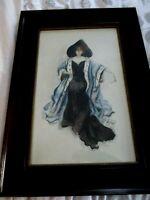 1910 ORIGINAL WATERCOLOR PAINTING SIGNED HELLMAN ART DECO LADY w OPERA GLASSES