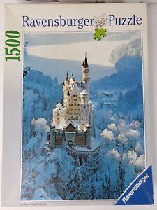 Ravensburger 1500 Puzzle Neuschwanstein In Winter 23.5 x 33.9 Germany 1992 Vtg