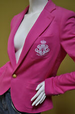 Ralph Lauren Sport Womens Pink Cotton Jersey Crested Jacket Blazer Sz 8