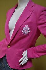 Ralph Lauren Sport Womens Pink Cotton Jersey Crested Jacket Blazer Sz 8