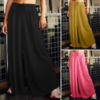 UK Womens Summer Yoga Culottes Trousers Ladies Elastic Wide Leg Loose Pants 8-26