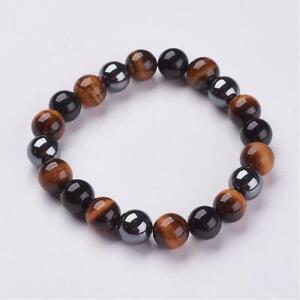 Natural Tigers Eye Hematite Obsidian Bead Stretch Bracelet Chakra Healing UK