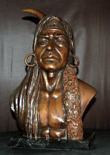 Native American Indian Bronze Bust Souix Chief Warrior (Marble Base)
