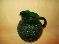 Anchor Hocking Lido Milano Foret Green Glass Ball Pitcher 9""
