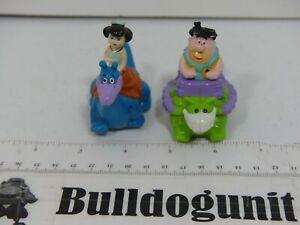 Vintage 1991 Lot 2 Flintstones Betty Fred Dinosaur Car Figure Denny's Kids Toy