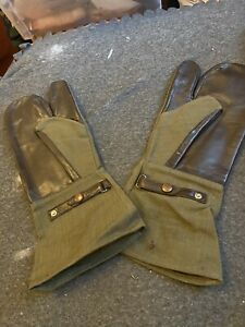 Vintage French Army Leather & Canvas Motorcycle Gunner Cold Weather Glove Mitts