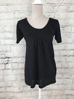 Womens E-VIE Black Short Sleeve Sheer Metallic Fibre Long Top Size 12