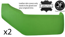 GREEN REAL LEATHER 2X DOOR POCKETS COVERS FITS VW T4 TRANSPORTER CARAVELLE