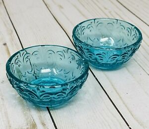 Pioneer Timeless Beauty Teal Glass Dipping Bowls Set of 2 Mom Valentine's Gift