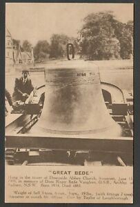 Postcard Radstock Somerset giant bell Great Bede at Downside Abbey Church