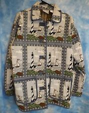 Blair Nautical Tapestry Jacket Lighthouse & Sailboat Size M Anchor Motif Buttons