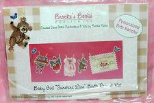 New Brooke's Books Baby Girl Sunshine Line Birth Record Cross Stitch Kit w/Beads