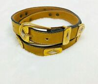 Streets Ahead Womens Belt Medium Brown Leather Brass Buckle Tribal Western