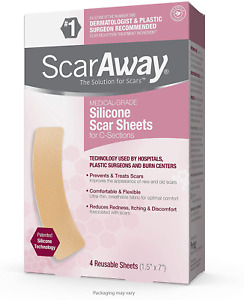 ScarAway Advanced Skincare Silicone Scar Sheets for C-Sections, Reusable Sheets