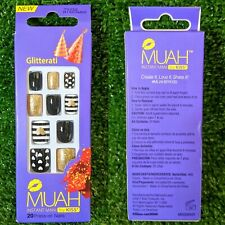 BRAND NEW MUAH BY KISS Instant Safe Manicure 20 Press on Nails Glitterati Design