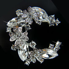 18k White Gold GF Diamond Simulant Wth Swarovski Crystals Solid Brooch Pin