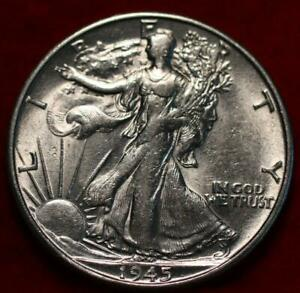 Uncirculated 1945-S San Francisco Mint Silver Walking Liberty Half