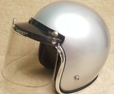 Vintage 1986 Snowmobile Motorcycle ATV Helmet with Face Shield Metallic Silver