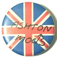 ASHTON MODS - Union Jack - Old OG Vtg 1980`s Button Pin Badge 25mm