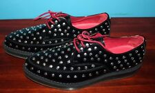 Diesel Women's Kalling Black Leather Studded Shoes Oxford Size 42