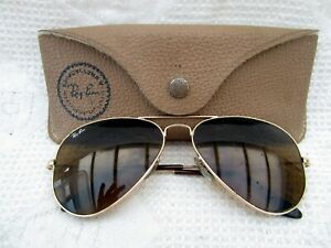 Vintage B&L Ray Ban Gold framed Aviator sunglasses 58 14