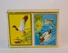 Vintage Double Deck Playing Cards MALLARD DUCKS by Cel-U-Tone White Velvet Box