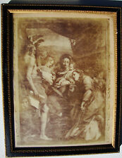 RELIGIOUS PRINT FRAMED MID 1800's SEPIA TONE GOOD CONDITION