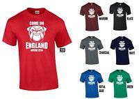 Bulldog Come On England Russia 2018 T-Shirt - XS-5XL English World Cup