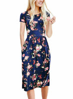Women Summer Boho Floral Short Maxi Dress Evening  Party Beach Dress