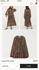 H M Long Chiffon Dress Briwn Xl 14 16 18 Smock Tent Artisan Ibiza Hippy