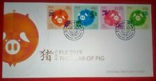 Fiji 2019 YEAR OF PIG FDC Set 4 Chinese Lunar Year Pig Stamps NEW