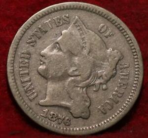 1876 Philadelphia Mint Silver Three Cent Coin