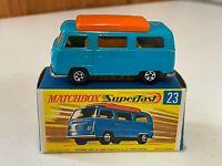 Matchbox Lesney Superfast #23-D Blue Volkswagen Camper in Type G2 Box