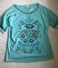 Sundance Beaded Shirt Sz Medium Light Blue Floral Short Sleeve