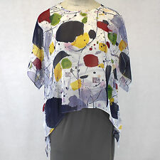 NEW NWT Cocoon House Pizzazz Art Sheer 100% Silk Pointed Blouse Top Small / Med