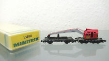 Minitrix 13590 Crane Train Db Mobile + Barrier Wagons Krupp Ardelt, N Gauge Dc
