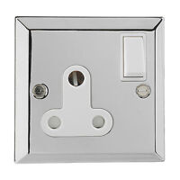 British General Chrome Single 1 Gang BS 546 Round Pin Socket Switched 15A Plug