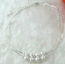 925 Sterling Silver Anklet 2 Row of Beads KPAN8 UK SELLER