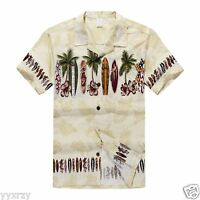 Men Aloha Shirt Cruise Tropical Luau Beach Hawaiian Party Cream Surf Boards Palm