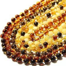 Bernsteinkette 100% Natur Bernstein Kette Barock-Kugel 5 mm viele Modelle amber