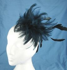 navy blue fascinator millinery feather brooch clip wedding ascot hat hair piece