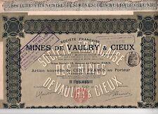 8 Actions au porteur de 100 francs - Mines de Vaulry & Cieux - 1912