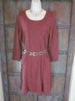 PrAna Womens Size L Soskia Dress 3/4 Sleeve Cranberry Red Wool Blend Unworn