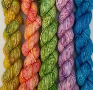 Mini Set Wool Yarn Hand Dyed 5 x 20g Marino Nylon Socks Granny Squares