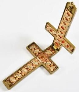 Important Antique True Cross Reliquary 22 Relics St. Sebastian Stephen George