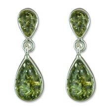 Baltic Green Amber pear Solid Sterling Silver Drop Earrings, New, UK seller.
