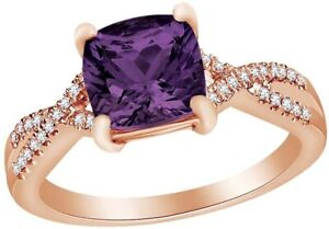 Marquise  Simulated Amethyst W/ Simulated Diamond Infinity Shank  Ring in Silver