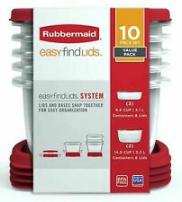 Rubbermaid Plastic Food Storage Containers 10 Piece Set Easy Find Lids