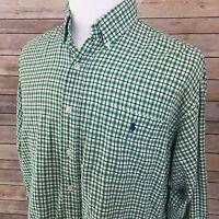 Ralph Lauren Dress Shirt Mens Large Blaire Green Plaid Long Sleeve Blue Pony